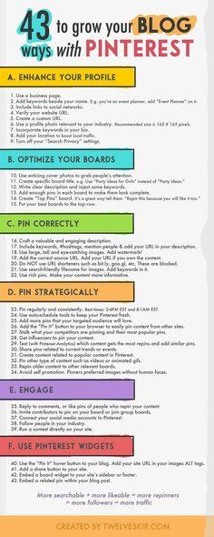 43 ways to grow your blog with Pinterest - infographic | via #BornToBeSocial, Pinterest Marketing | http://borntobesocial.com