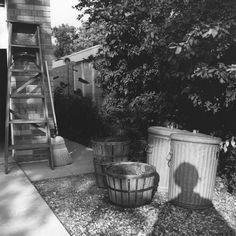 Vivian Maier  -  Self Portrait, Chicagoland, 1966, (shadow trashcan) / Silver Gelatin Print  -  12 x 12 (on 16x20 paper)
