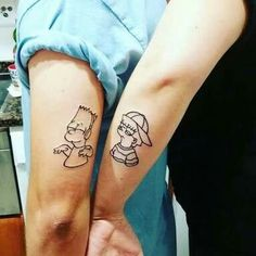 simpsons tattoo Matching Simpsons tattoos Lisa and bart Brother Tattoos, Matching Sister Tattoos, Sibling Tattoos, Mini Tattoos, Cute Tattoos, Small Tattoos, Temporary Tattoos, Creative Tattoos, Unique Tattoos