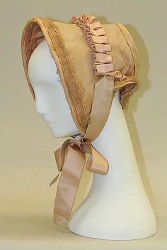 silk Bonnet, American or European, via The Metropolitan Museum of Art. Victorian Hats, Victorian Fashion, Vintage Fashion, Historical Costume, Historical Clothing, Silk Bonnet, Civil War Fashion, Civil War Dress, Retro Mode