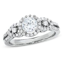 1 CT. T.W. Diamond Three Stone Framed Engagement Ring in 14K White Gold