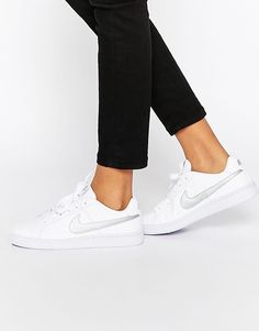 6d7aa20be64 Image 1 of Nike White   Silver Court Royal Trainers