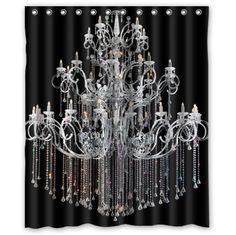 """60""""(w) x 72""""(L) Custom classical Chandeliers black Bathroom Waterproof Polyester Fabric Shower Curtain Chandeliers Shower Curtain http://www.amazon.com/dp/B00OZAI75Q/ref=cm_sw_r_pi_dp_4EBaxb0VWMZG7"""
