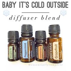amazing smelling diffuser blend that is warm and inviting and totally feels like the holidays! • 3 drops Douglas Fir 3 drops Peppermint 2 drops Cinnamon 2 drops Grapefruit