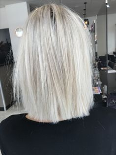 Blonde hair short lob Textured straight hair  Cut colour Cool ash blonde
