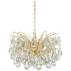 Delicate Murano Glass Tear Drop Chandelier | From a unique collection of antique and modern chandeliers and pendants  at https://www.1stdibs.com/furniture/lighting/chandeliers-pendant-lights/