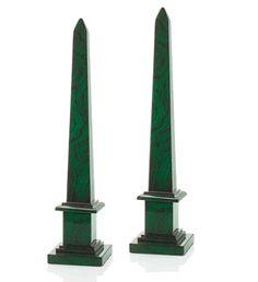 "Limited Production Design: 30"" Set of 2 Malachite Obelisks * Partner Vases Bowls & Desk Boxes Available"
