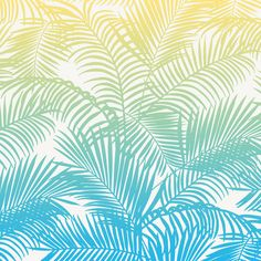 Modern teal yellow tropical palm trees pattern  Art Print