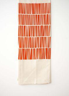 Keys - Flour Sack Tea Towel - Poppy Red / Orange - Organic Cotton - Dish Towel…