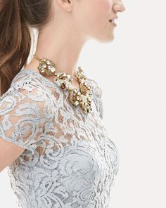 J.Crew December '15 Style Guide women's Alisa dress in Leavers lace. #necklace #jewelry #lacedress