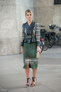 Fashion blogger Lala Rudge wears an Alexander McQueen jacket, Cruise skirt, Louis Vuitton bag and Alexander Birman shoes on day 2 of Paris Womens Fashion Week Spring/Summer 2017, on September 28, 2016 in London, England.