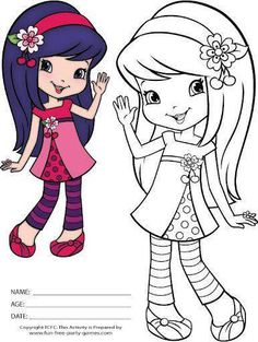 Strawberry Shortcake Coloring Pages: Cherry Jam Waves Hello! Cartoon Coloring Pages, Coloring Pages To Print, Colouring Pages, Adult Coloring Pages, Coloring Pages For Kids, Coloring Sheets, Coloring Books, Strawberry Shortcake Coloring Pages, Strawberry Shortcake Characters