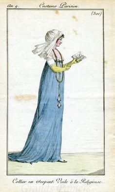 An 9 Costume Parisien #301 Collier en Serpent. Voile à la Religieuse.