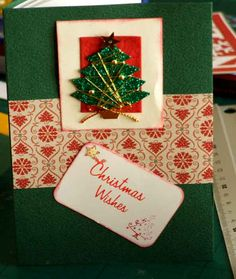 Handmade Christmas Card gift idea by Janys Hyde found on MyOwnCreation: Textured cardstock note cards with Xmas theme embellishments. Each card with envelope and sticky white address labels for dark colour envelopes. Do you like to write more than just Happy Christmas on your cards
