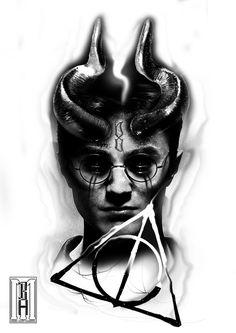 harry potter zombie tattoo design  always zobie scarry creepy harry