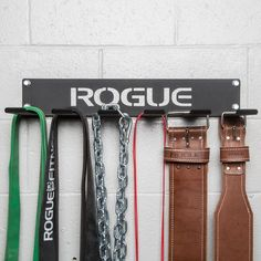 Rogue's wall-mounted Multi-Use Hangers are reliable catch-all storage options for just about any lightweight gym accessory, from belts and chains to jump ropes, bands, etc.