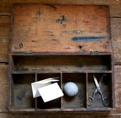 Well worn old box , scratches , ink stains, stories - beautiful
