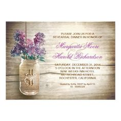 country rustic mason jar rehearsal dinner invites with purple, blue lilacs and wooden background