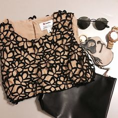 Black and Tan lace Lela Rose for Target top Really pretty top from Lela Rose for Target. Size is small. The top is composed of a tan top with a black oversized lace overlay. Listing is for just the top. Lela Rose Tops Blouses