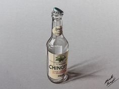 chinotto empty bottle drawing by marcellobarenghi - Colored Pencils Drawing by Marcello Barenghi  <3 <3