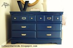 On the V Side: Updated Navy Dresser with Brass Hardware [Sherwin Williams Naval 6244] Hate those center brackets!