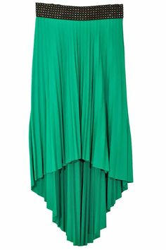 Long Pleated Hi Lo Skirt With Elastic Waistband