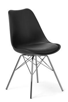 Sitt snyggt - vid matbordet, i hallen, vid skrivbordet eller där du vill ställa stolen Kim. Stolen är formgjuten med sits i konstläder som gör att du får en stol med mjuk och skön komfort. Det nätta underredet i krom ger en läcker design. Stolen är lätt att hålla ren, du kan bara torka av den med en fuktig trasa.