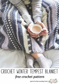Crochet Afghan Patterns Winter Tempest Blanket - Free Crochet Pattern by Hopeful Honey - Envelope yourself in the warmth and serenity of the Winter Tempest Blanket, as it gently transports you to a quaint little cottage by the seaside. Crochet Crafts, Easy Crochet, Crochet Hooks, Crochet Projects, Free Crochet, Knit Crochet, Blanket Crochet, Crochet Cushions, Crochet Pillow