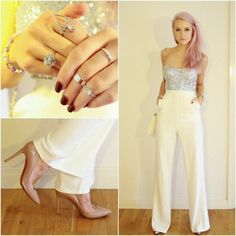 Silver glitter crop top w/ white high waisted trousers