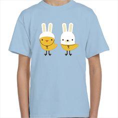Camiseta infantil pollito y conejo