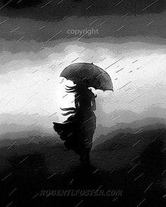 Dame art impression peinture pluie femme tempête par lewfoster