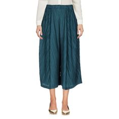 Pleats Please Issey Miyake 3/4-length Trousers ($225) ❤ liked on Polyvore featuring pants, dark green, high-waisted trousers, highwaist pants, high waisted wide leg trousers, high-waist trousers and high waisted pleated pants