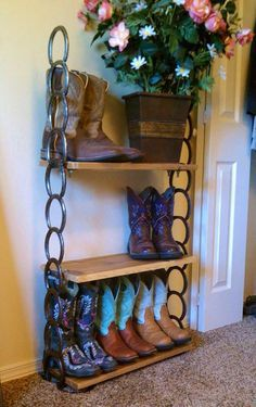 Cowboy-boot-storage-horseshoe-shelf