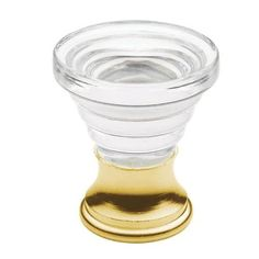 Baldwin 4354 Crystal 1-3/8 Inch Diameter Conical Cabinet Knob from the Estate Collection (Polished brass)
