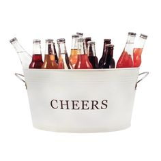 Buy Twine: Rustic Farmhouse - Galvanized Cheers Tub online and save! Perfect for outdoor entertaining, this country inspired painted galvanized ice tub will keep your beverages cold and toast your guests. Cheers to you! Tin Tub, Beer Bucket, Beverage Tub, Metal Tub, Outdoor Parties, Outdoor Entertaining, Outdoor Fun, Country Farmhouse Decor, Modern Farmhouse