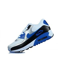 Men'S Women'S Nike Air Max 90 PRM White Silver Sapphire Blue Black Shoes Sale Online Blue Sneakers, Air Max Sneakers, Sneakers Nike, Black Sports Shoes, Grey Shoes, Nike Air Max For Women, Nike Women, Grey Trainers, Wholesale Nike Shoes