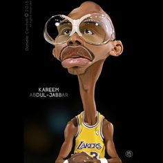 Kareem Abdul-Jabbar by Daniele Cerritelli Cartoon People, Cartoon Faces, Funny Faces, Cartoon Art, Caricature Artist, Caricature Drawing, Funny Caricatures, Celebrity Caricatures, Basketball Art