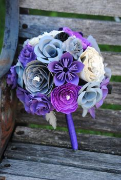 Custom Paper Flower Wedding Bouquet. You Pick The by TreeTownPaper