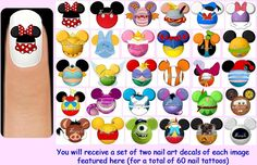 60x Mickey Mouse SILHOUETTE HEADS Inspired Nail by FlutterbyDream, $7.50