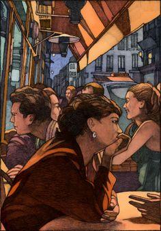 """Illustration de Miles Hyman pour """"Heureux les heureux"""" de Yasmina Reza."""