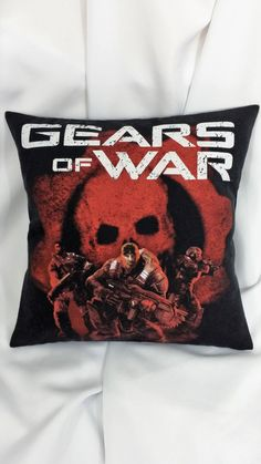 Before he was court-martialed there were the adventures. Have Marcus Fenix join you in your own home with a throw pillow cover. This video game decor is made from a Gears of War shirt. It features the