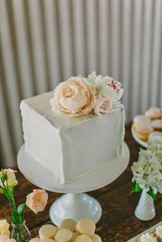 hello naomi square white cake with pastel peonies