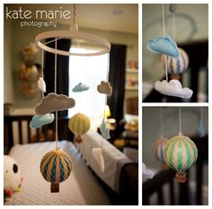 hot air balloon mobile. I want air plains and hot air balloons to be my future baby boy nursery theme