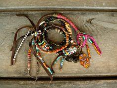 Boho, Ethnic, Hippie necklace, Trade Beads, Leather Fringe necklace, Long necklace,Bell, Gypsy necklace, Beach Jewelry.