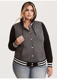 ed2196dc526d8 TORRID   Harry Potter Slytherin Hooded Varsity Jacket Trendy Plus Size  Fashion