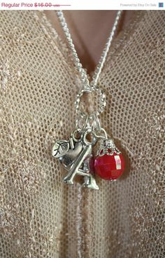 10 Off Sale A Is For Apple Teacher Charm by PenelopesPorch on Etsy, $14.40