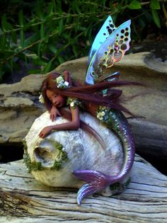 Pretty Ethnic Mermaid Fairy on Shell by Celia Anne Harris OOAK - Made to Order.
