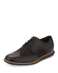 N3FQX Cole Haan Grandsprint Wing-Tip Oxford, Black