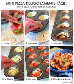 O SOS. Solteiros publicou uma dica bacana de como fazer petisco de pizza usando forminhas de cupcakes.