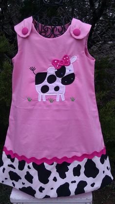 Personalized Pink Aline Dress trimmed in Cow Print with Appliqued Cow Baby Dress Clothes, Farm Clothes, Baby Dresses, Toddler Dress, Toddler Outfits, Kids Outfits, Sewing For Kids, Baby Sewing, Sew Baby
